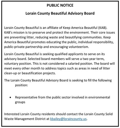 2016 Keep Lorain County Beautiful Advisory Board Position Available